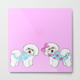 Bichon Frise Dogs in love- wearing pink and blue coats Metal Print