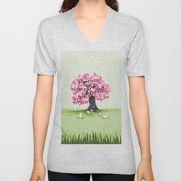 Bunny Blossom Tree Unisex V-Neck