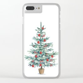 Christmas tree with red balls Clear iPhone Case