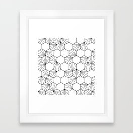 Peacock comb black white geometric pattern Framed Art Print