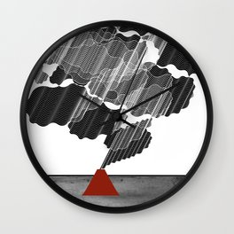 Little Red Volcano Wall Clock