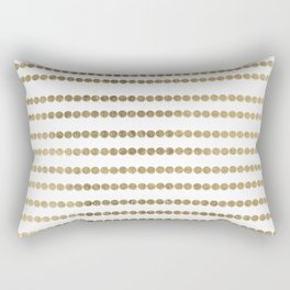 Elegant faux gold white modern minimal polka dots stripes Rectangular Pillow