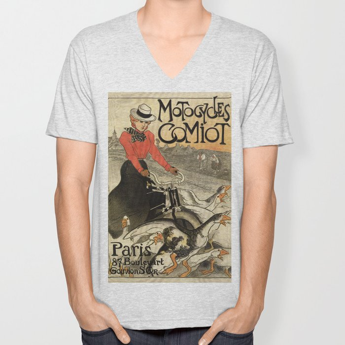 1899 vintage French motorcycle ad by Steinlen Unisex V-Neck