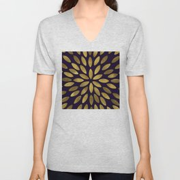 Classic Golden Flower Leaves Pattern Unisex V-Neck