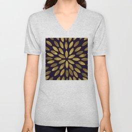 Classic Golden Flower Leaves Pattern Unisex V-Neck