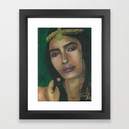 Lady in Green Framed Art Print