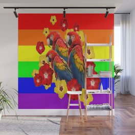 TROPICAL RAINBOW ART MACAWS & RED YELLOW HIBISCUS Wall Mural