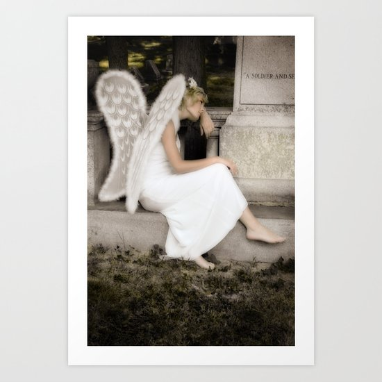A Guardian Angel graveside Art Print