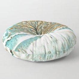 Tree in Gold and Teal Floor Pillow