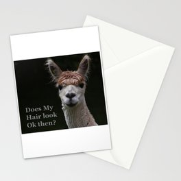 Funny hairstyle alpaca Stationery Cards