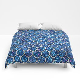 Sparkly Blue & Silver Glitter Mermaid Scales Comforters