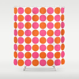 orange and hot pink dots Shower Curtain
