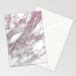 Gray & pink glitter faux messy marble texture Stationery Cards