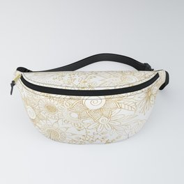 Elegant golden floral doodles design Fanny Pack