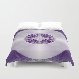 Vinyl Record Illusion in Purple Duvet Cover