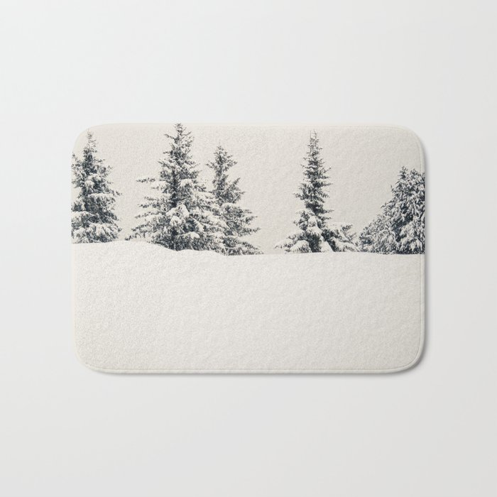 Fir Trees In A Winter Landscape Bath Mat