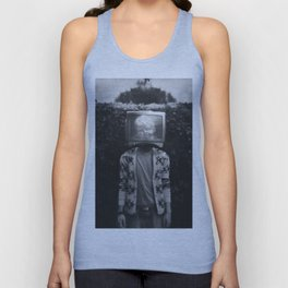 This TV haze sucks me through. I watch the world from the inside Unisex Tank Top