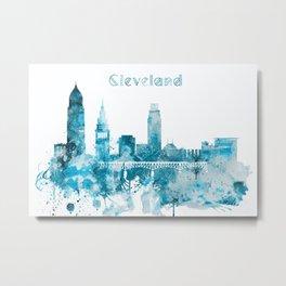 Cleveland Ohio Monochrome Blue Skyline Metal Print