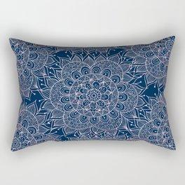 Modern navy blue blush pink watercolor floral mandala Rectangular Pillow