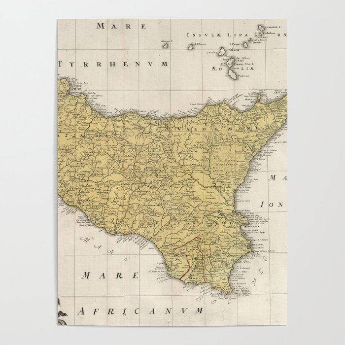 Vintage Map of Sicily Italy (1747) Poster by bravuramedia