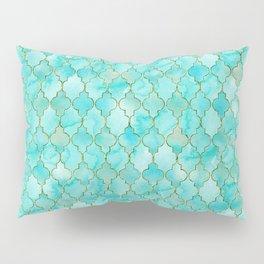 Luxury Aqua Teal and Gold oriental quatrefoil pattern Pillow Sham