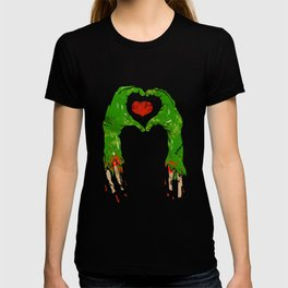 zombie hand making heart T-shirt