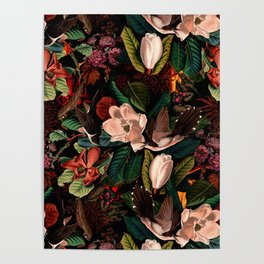 FLORAL AND BIRDS XIV Poster