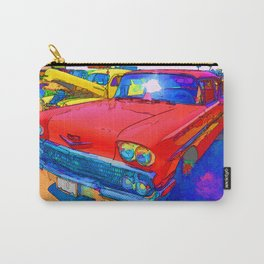 Front view of red retro car Carry-All Pouch
