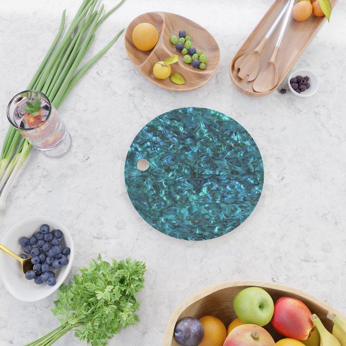 Abalone Shell | Paua Shell | Sea Shells | Patterns in Nature | Cyan Blue Tint | Cutting Board