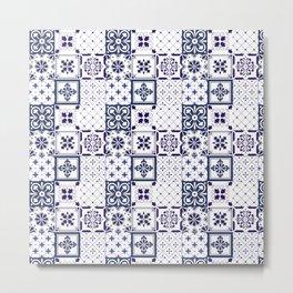 Blue tile pattern Metal Print