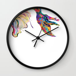 """Humhumbird"" Paulette Lust's whimsical, colorful, contemporary, original, fun, art.  Wall Clock"