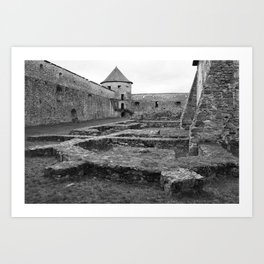 Fortress monastery courtyard and watchtower Art Print