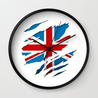 british flag Wall Clocks featuring British Flag Pride by northside