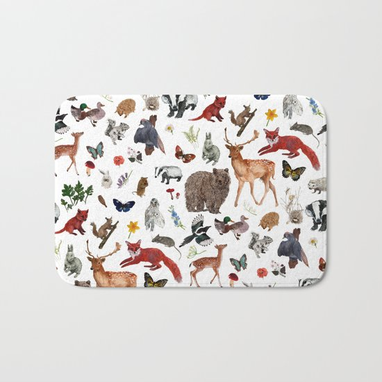 Wild Woodland Animals Bath Mat
