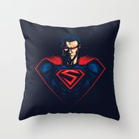 man of steel Throw Pillows featuring Man of Steel by Steven Toang