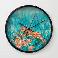 mint Wall Clocks featuring Mint by SensualPatterns