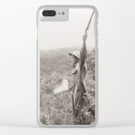 American Soldier With Flags Clear iPhone Case