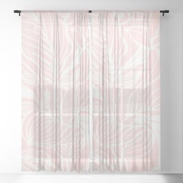 Pink Coral Floral Garden Sheer Curtain