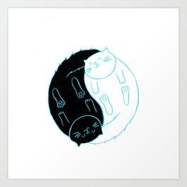 Ying Yang Kitties Art Print