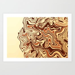 Milk and Chocolate Marble Art Print