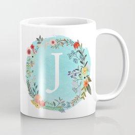 Personalized Monogram Initial Letter J Blue Watercolor Flower Wreath Artwork Coffee Mug