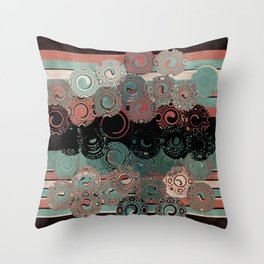 Peachy Mint Swirls Throw Pillow