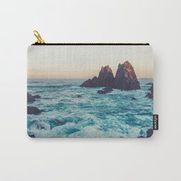 Rocky Beach Shore Jagged Rocks Blue Water Sunset Carry-All Pouch