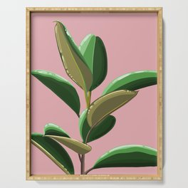 Rubber Plant Illustration (pink background) Serving Tray
