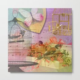 Beautiful Birds & Cages Colorful & Vintage Metal Print