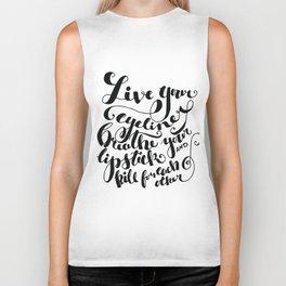 Beauty quote - Hand-lettering - Eyeliner, lipstick - Girl boss Biker Tank