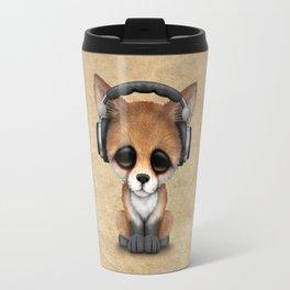 Cute Red Fox Cub Dj Wearing Headphones Travel Mug