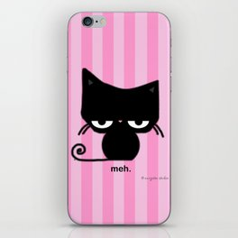 Meh Cat on Pink Stripes iPhone Skin