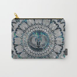 Egyptian Scarab Beetle Silver and Abalone Carry-All Pouch