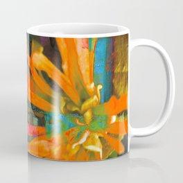 Electric Floral Burst in Tangerine Coffee Mug
